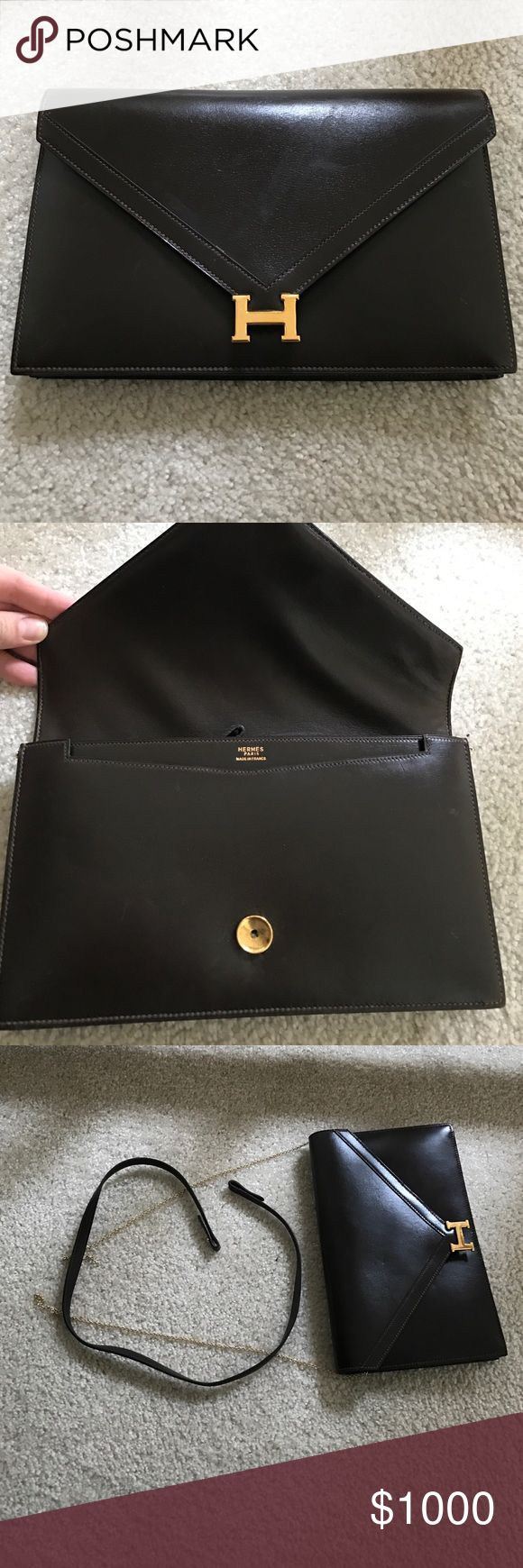 Vintage Hermes clutch Vintage Hermes brown clutch. Strap needs to be reattached, and H clasp doesn't clip in, great bag!!! Rare Lydie style 100% authentic with one zip compartment. Willing to negotiate to sell. Selling for $3000 plus on other sites, so priced low. Can be repaired Hermes Bags