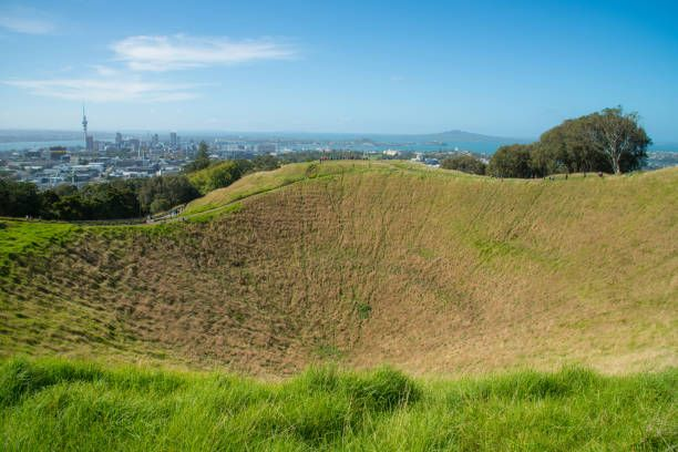 mount eden the old volcano in town with the skyline view of auckland