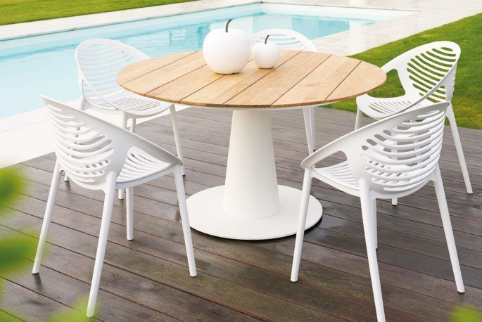 Teak With Aluminum Design Garden Table White Garden Chairs Aluminum Chairs Design Garden Table Teak White In 2020 Garden Table Home Decor