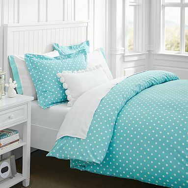 Dottie Duvet Cover + Sham, Pool -these are really cute and come in a variety of colors. Maybe I could find similar fabric and sew my own