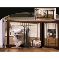 @Overstock - This wooden pet gate with door is adjustable and features a sturdy wood and metal construction. The metal door with latch accommodates small dog breedshttp://www.overstock.com/Pet-Supplies/Adjustable-Wooden-Pet-Gate-with-Door/6836436/product.html?CID=214117 $49.99