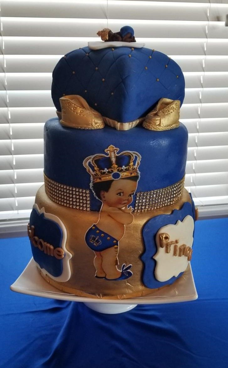 Royal Prince Baby Shower Cake Royal Blue Gold Prince Baby