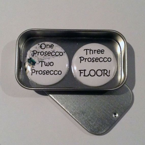 Prosecco Wine Fun Magnet Gift Set with Gift Tin Handmade