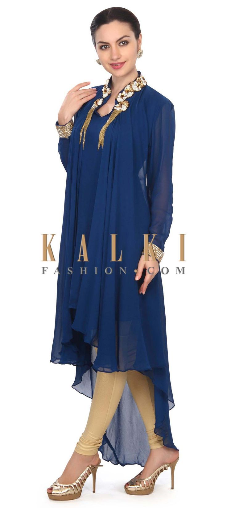 Buy this Royal blue kurti features with embellished neckline only on Kalki