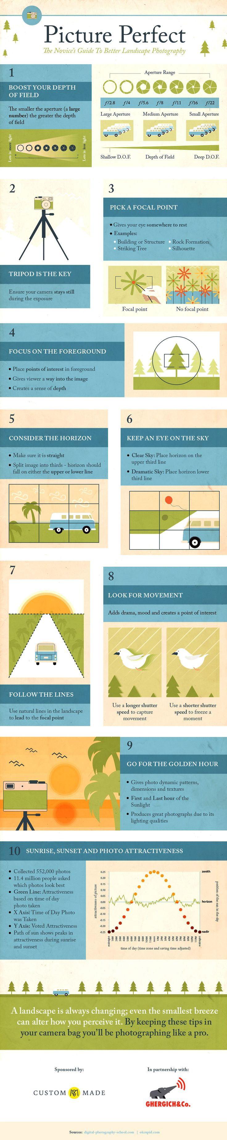 Picture Perfect Infographic - The Novice's Guide to better Landscape Photography - Pensez à vos illustrations d'articles !