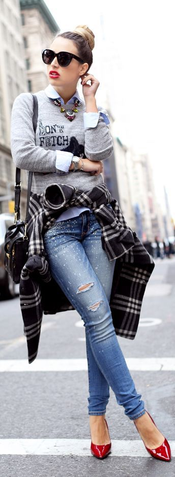 Great Layering! Cute sweatshirt over classic white button down, plaid coat, distressed jeans and bright heels for a pop of color.