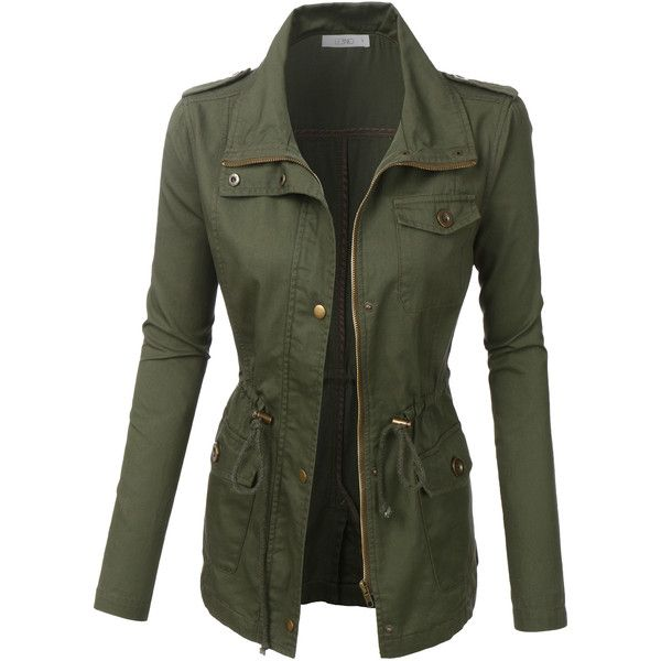 LE3NO Womens Anorak Utility Military Jacket ($27) ❤ liked on Polyvore featuring outerwear, jackets, utility jacket, army utility jacket, utilitarian jacket, field jacket and lightweight jacket