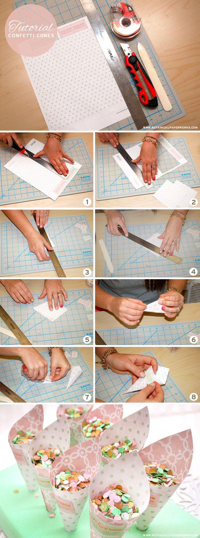Cómo hacer conos de confeti para lanzar en la boda #boda #novia