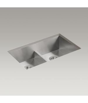 "Very popular kitchen sink with low partition between bowls so you can lay a cookie sheet inside. Vault™ 33"" x 22"" x 9-5/16"" Smart Divide® top-mount/under-mount double-equal bowl kitchen sink with 4 faucet holes"