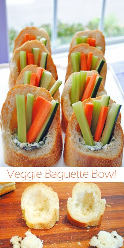 The Veggie Baguette Bowl: This is just that long skinny French bread cut like the picture. Put ranch dip in for kids dont like spinsch dip. I would add a cherry tomato just for fun.: