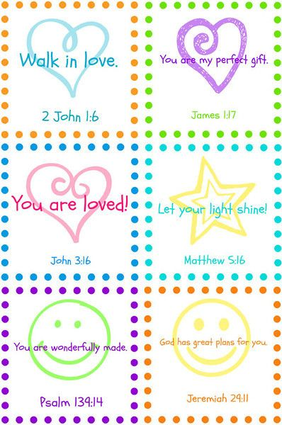 Scripture lunch box notes.  Or for any special time!