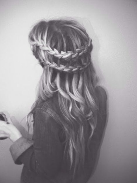 Double layered waterfall braid with curls