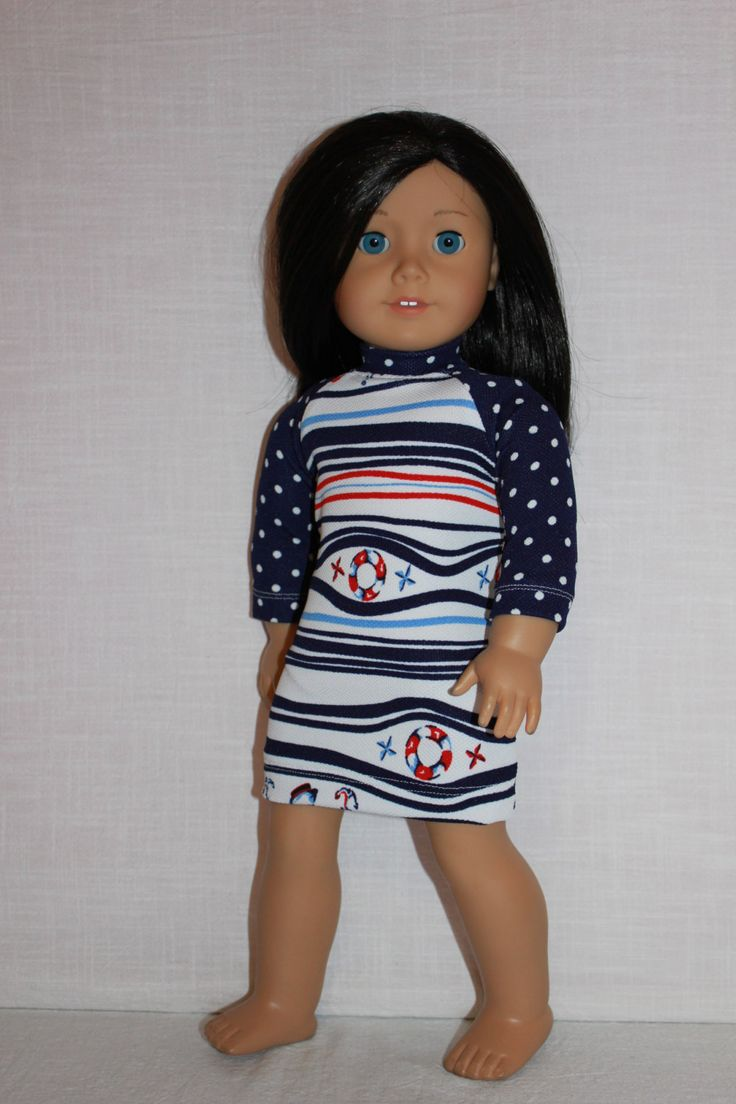 18 inch doll clothes, nautical print dress, navy and white doll dress,sailing dress,  Upbeat Petites by UpbeatPetites on Etsy