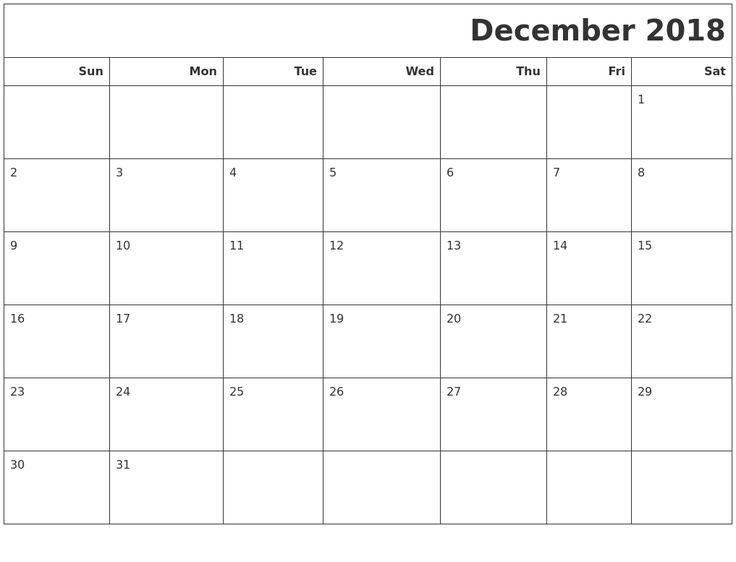 December 2018 Printable Blank Calendar December 2018 Blank