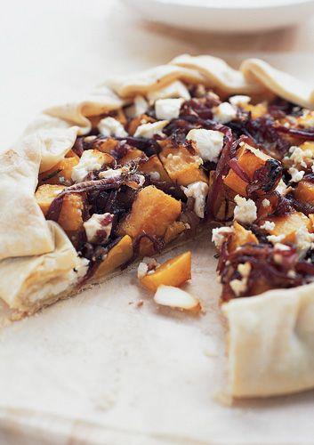 Pumpkin, feta and caramelised onion pie.