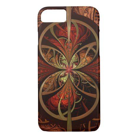 Brown & Orange Fractal Art Design iPhone 7 iPhone 8/7 Case #fractal #pattern #iphone #protective #cases