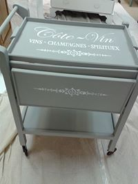 vintage tea trolley painted during a class at www.craftynest.co.uk   All vintage tea trollies sourced and hand picked from around Southern England by @TheCraftyNestUK & transformed using Autentico Chalk Paint, stencils by Maison de Stencil  contact alicia@craftynest.co.uk for full brochure of classes or to order some fantastic Autenticio chalk Paint  www.craftynest.co.uk