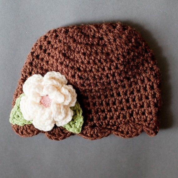 Girls Flapper Beanie in brown with cream & pink by crochetmelly, $17.50
