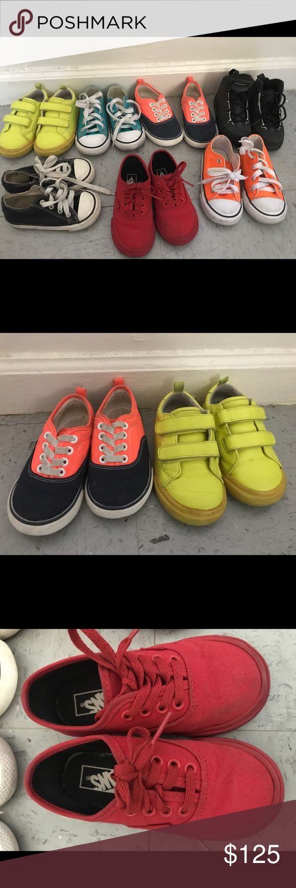Variety of toddler sneakers!! Selling all of these for $125 you get all 7 pairs. 3 converse  the black is a size 6 and the other 2 are size 7, will sell all 3 for $55.....2pairs of gap sneakers size 7 as well, will to sell both for $25....one pair of vans also size 7, willing to sell for $15 and the pair of Jordan's for $35. They just need a little cleaning and also willing to negotiate a price for all 7 pairs. Lastly with all 7pairs I can do free shipping! So let me know and I'll change the…