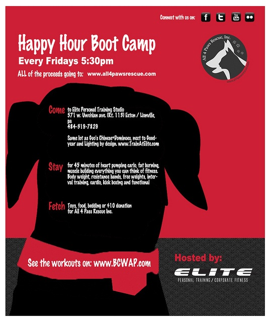 Happy Hour Workout    When: Every Friday 5:30 pm    Where: Elite Personal Training, 571 w. Uwchlan ave (rt 113), Exton, PA 19341    www.TrainAtElite.com    *** Next to Lighting by design, in the plaza with Dominoes and Guo's Chinese, across from Red Robin    W It´s important to have a good health