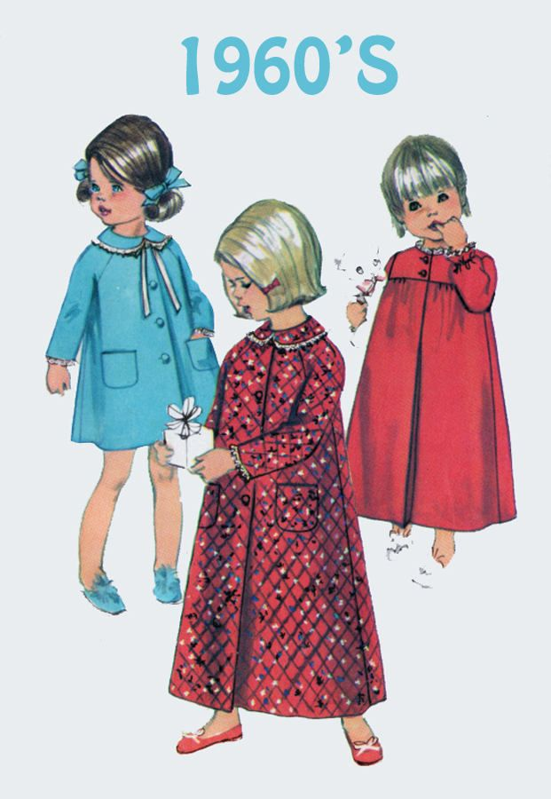 Vintage 1960s Girls Christmas Pajamas Robe Nightgown Sewing Pattern Simplicity 7375  Childrens Mod Sewing Pattern Size 3 Breast 22 by sandritocat on Etsy