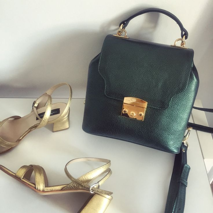 Minimal Backpack | SS 2017  @The 5th Element  #the5thelementshoes #clunetshowroom #leather #backpack #green #sandals #springsummer #collection #gold #bags #shoes #photo