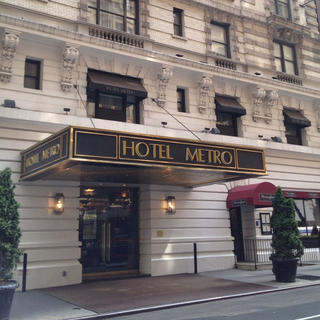An entrance to Metro Hotel in NYC