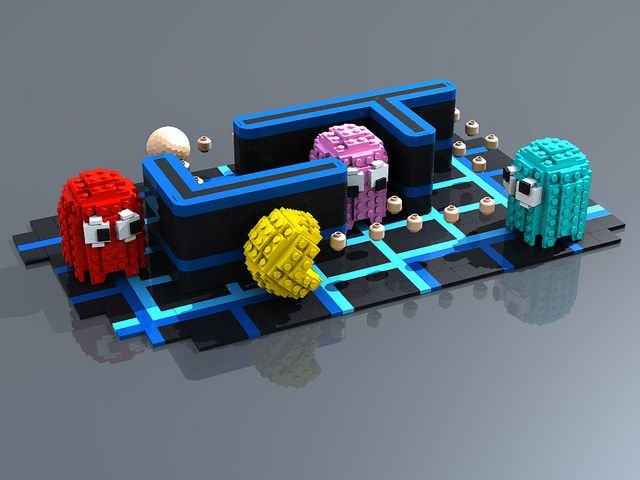 #LEGO Pac-Man.  This is great.  Look closely--the floating pac-dots (pellets) are actually minifig heads!