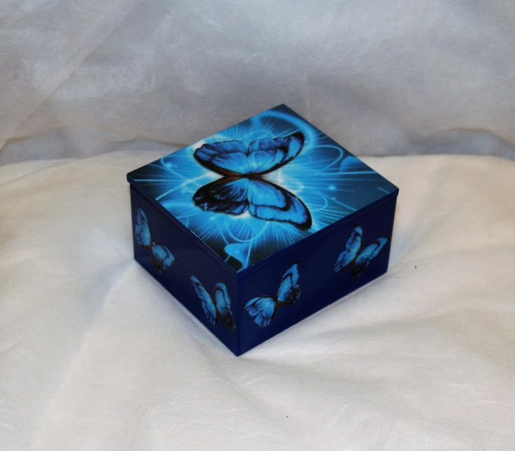 Blue butterfly themed trinket box, jewellery box, decoupage trinket box  #jewellery #blue #wood #girls #necklace #animals #square #decoupage #trinketbox