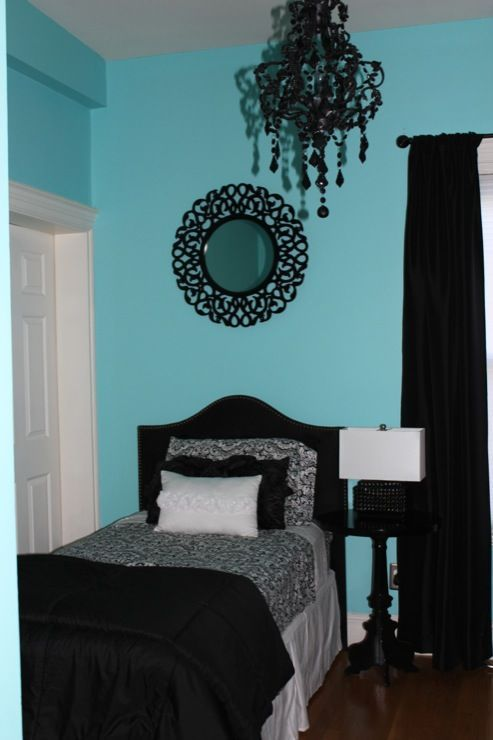 girls rooms sherwin williams belize black and white auqa teal turquoise fabric headboard. Black Bedroom Furniture Sets. Home Design Ideas