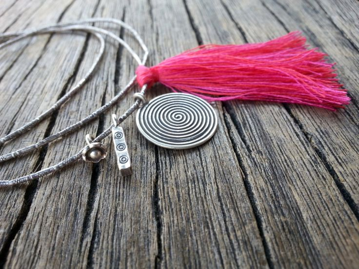 Long+Necklace+Sterling+Silver+Charms+and+Tassel+by+PiscesAndFishes,+€35.00