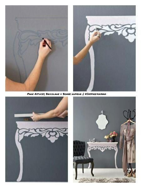 Make a table by painting legs onto the wall and placing a shelf on top. This would be neat in a little girl's bedroom or a narrow hallway that lacks enough space for a real table.