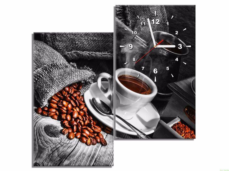 Fotozegar z kawą - szary - 60x60 OBRAZY Z ZEGAREM Galeria obrazów Art Verde