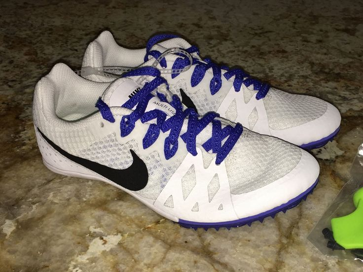 Nike Rival M 8 White Blue Bla Multi Use Track Spikes Shoes Womens 6.5 7 8.5 9.5