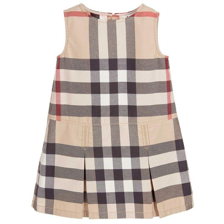 Burberry - Girls Beige Check Cotton Dress  