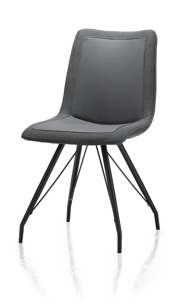Jax, eetkamerstoel - metalen frame zwart - Tatra/Blues combi