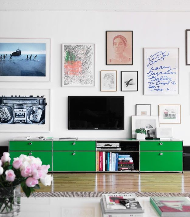 Pair your favorite art gallery style with a USM Haller Cabinet. #storage #interiors #hauteliving