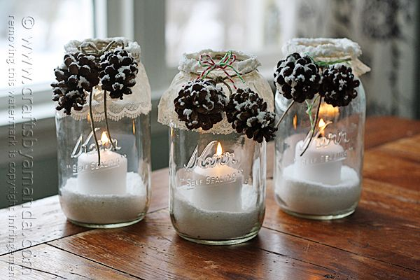 Step by step instructions to make these Snowy Pinecone Candle Jar Luminaries @amandaformaro Crafts by Amanda