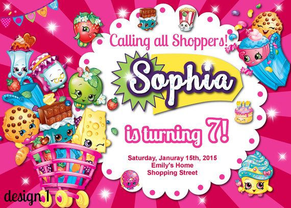 Shopkins invitations and thank you cardShopkins by MyCuteParty