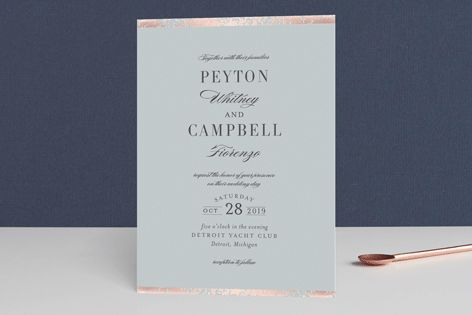 """""""Fleck"""" - Traditional, Elegant Foil-pressed Wedding Invitations in Charcoal by Snow and Ivy."""