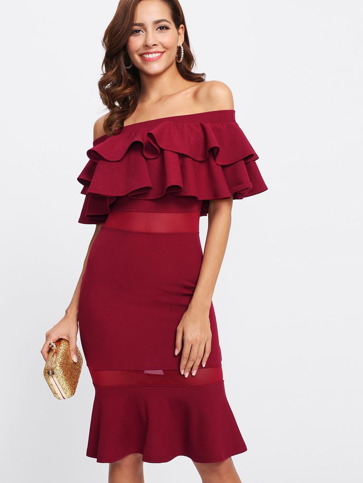 Shop Flounce Layered Mesh Insert Fishtail Dress online. SheIn offers Flounce Layered Mesh Insert Fishtail Dress & more to fit your fashionable needs.