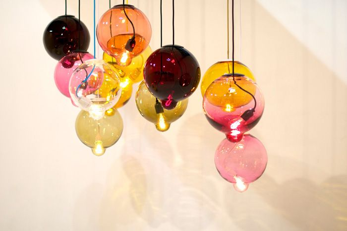 Coloured lamp bulbs - Designer : Lindstén Form Studio. Photo by Lisette Scheers