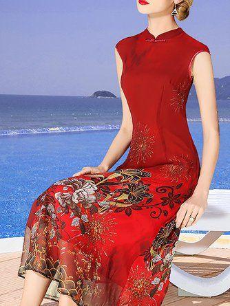 e86aa645a2 Stand Collar Burgundy Women Date Sleeveless Holiday Floral Elegant Dress.  JustFashionNow Women Print ...