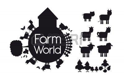 silhouetten dieren boerderij geïsoleerd op witte achtergrond. illustratie Stockfoto - 12459346