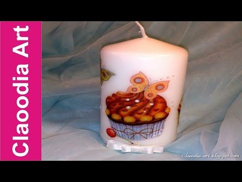 Ozdabianie świeczki (decoupage) - z pomocą drugiej świeczki [candle decuopage] (Claoodia Art) - YouTube