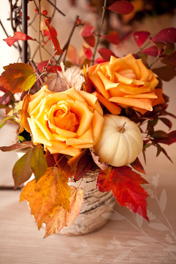 Anna and Spencer Photography, Fall Wedding Floral Arrangement with Orange Roses, Pumpkins & Leaves. Mimi Walden Florist.