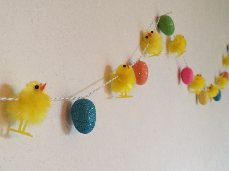 """Easter Garland with 1"""" chenille chicks and 1"""" glitter eggs from Michaels. Lots of character in those little chicks."""