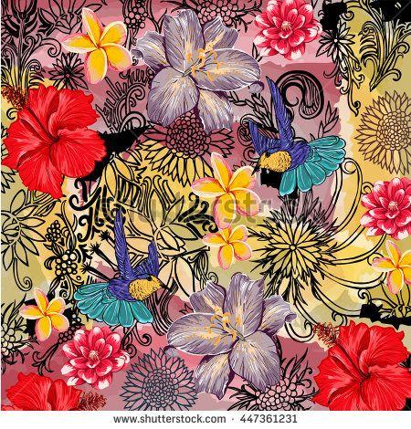 bird and flower pattern