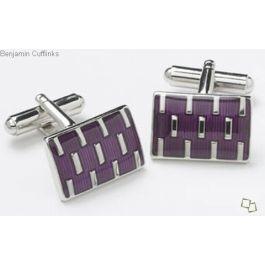 Purple and Chrome Inlays Cufflinks