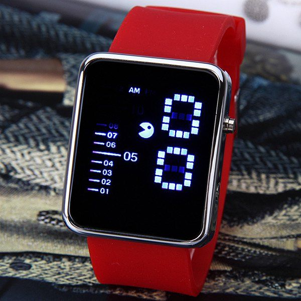 Waterproof Rubber Band LED Screen Watches with Blue Light Display Square Shaped Silver Crust - Pink #>=#>=#>=#>=#> Click on the pin to check out discount price, color, size, shipping, etc. Save and like it!